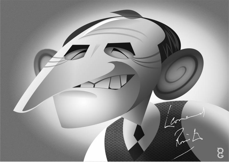 Leonard Rossiter caricature