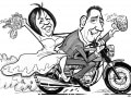 Couple On Bike caricature