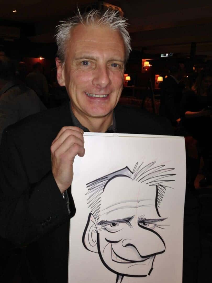 Volvo office party caricatures