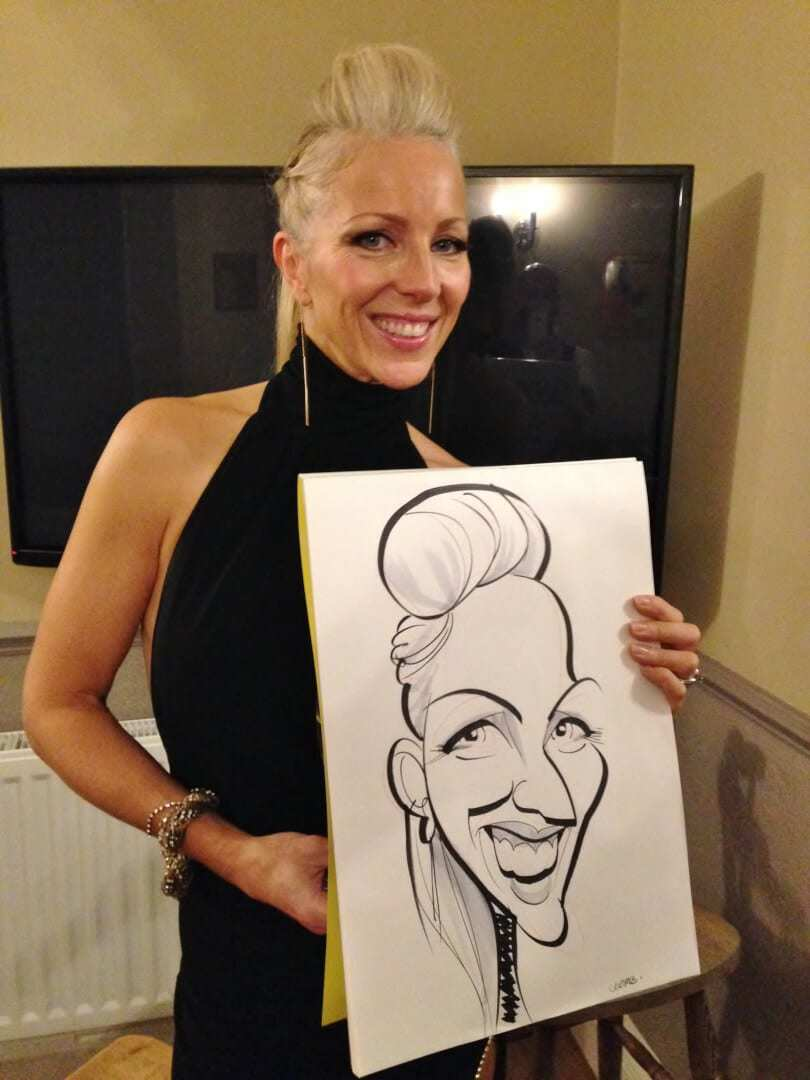 James Bond party caricatures