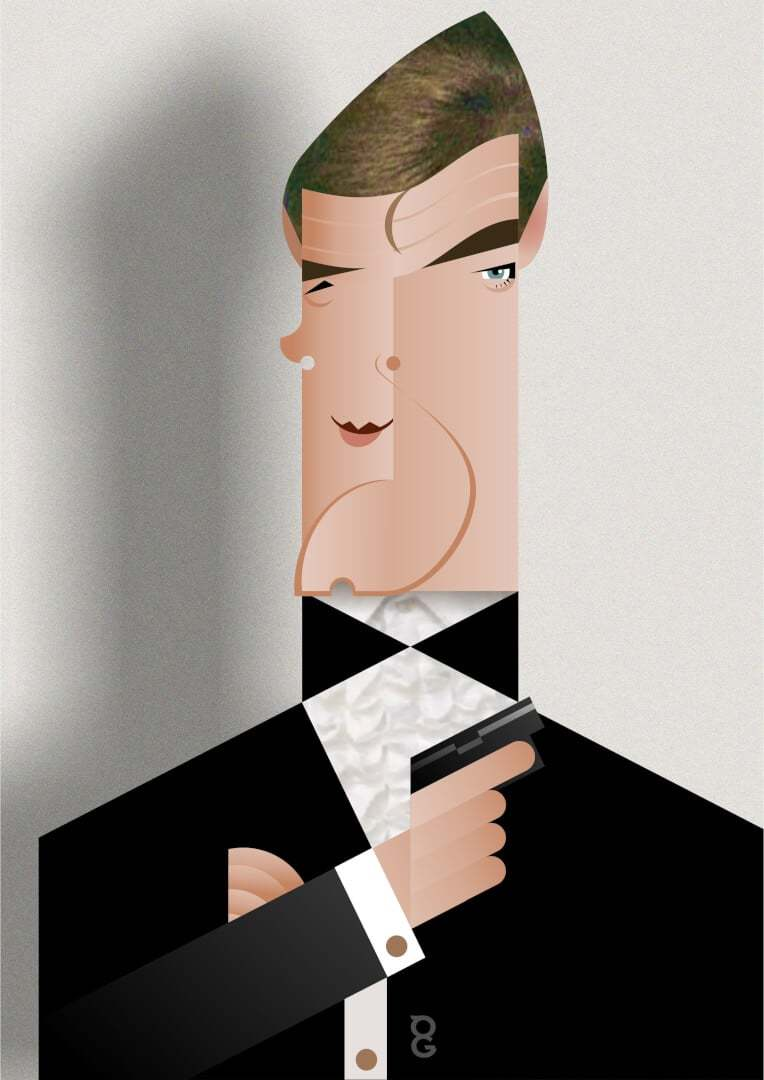 Roger Moore caricature