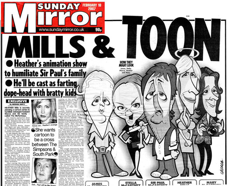 Sunday mirror caricature spot on caricatures for Sunday mirror