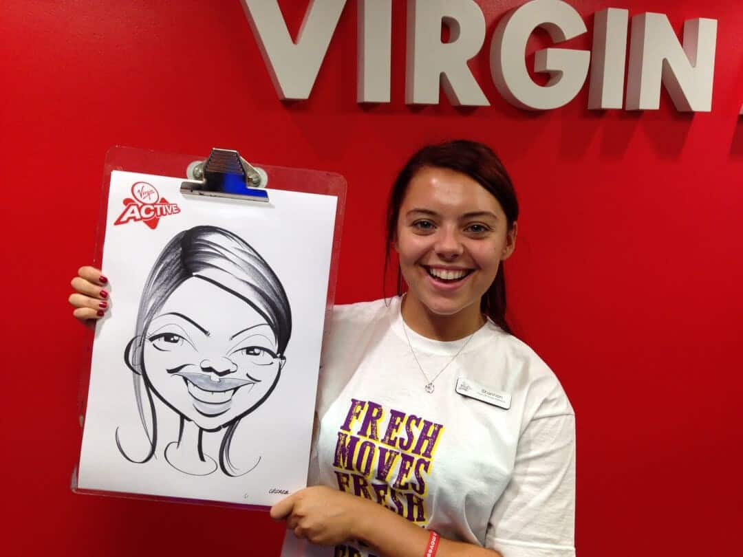 Virgin Active re-launch day caricatures